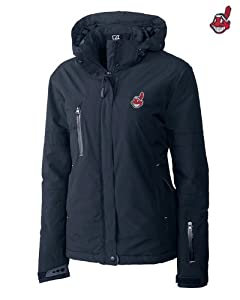 Cleveland Indians Ladies WeatherTec Sanders Jacket Navy Blue by Cutter & Buck