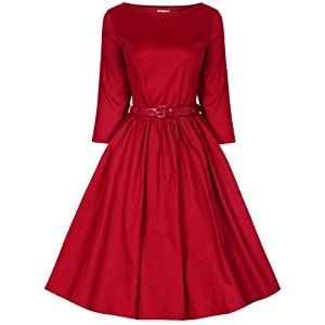 Lindy Bop Women's 'Holly' Vintage Audrey Hepburn 3/4 Sleeve Dress (XL, Red)