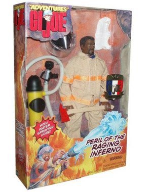 G.I. Joe 1999 The Adventures 35 Years 12 Inch Action Figure - Peril Of The Raging Inferno Fireman with Water Spraying Hose -African American Version by G. I. Joe