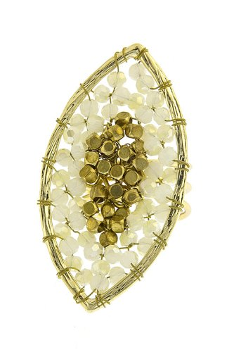 The Jewel Rack Oval Beaded Ring (Ivory)