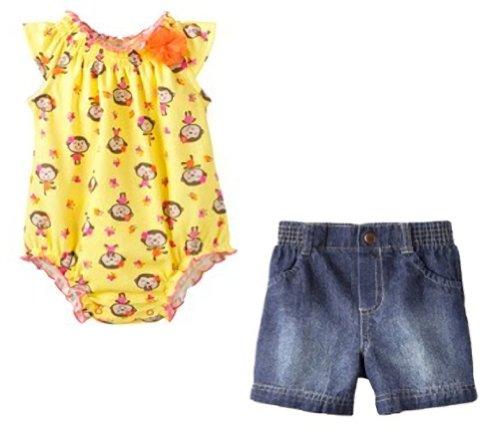 Monkey Onesie & Faded Denim Shorts Bundle! So Cute! (Size - 6 Months) front-30269