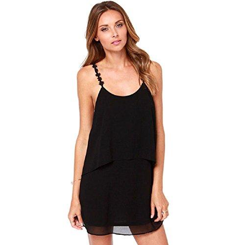 Aokdis Sexy Women Summer Boho Sleeveless Casual Evening Party Short Dress (L, Black)