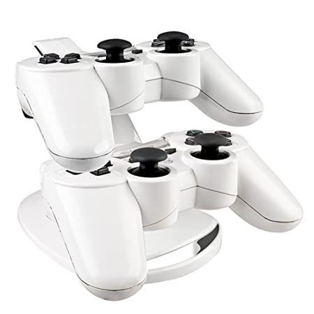 eForCity Dual Charge Station with Stand Compatible With PS3 Controller, White