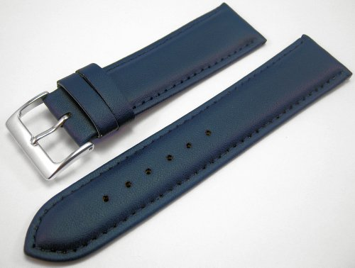 Blue Padded Leather Watch Strap Band With A Stitched Edging And Nubuck Lining 20mm