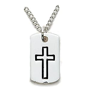 """Sterling Silver Cross Necklace in a Dog Tag Design Men's Religious Jewelry Dog Tag Jewelry Gift Boxed.w/Chain 18"""" Length Gift Boxed."""