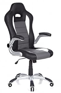 HJH Office/Buerostuhl24 621710 Swivel Office Chair Racer Sport Black / Grey by HJH Office