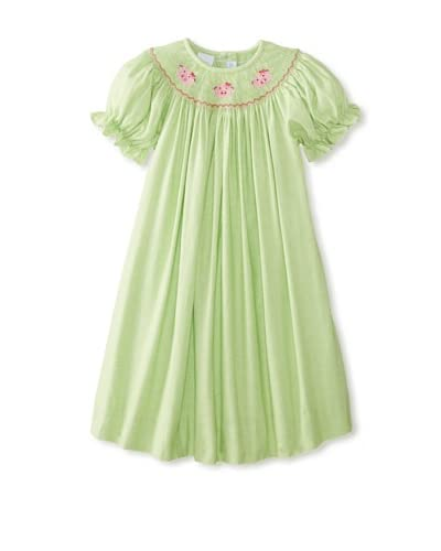 Viva La Fete Kid's Smocked Pig Bishop Dress  [Lime]