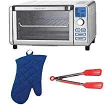 Cuisinart TOB-100 Digital Compact Toaster Oven and Broiler + Royal Blue Solid Oven Mitt 13 + Nylon Flipper Tongs