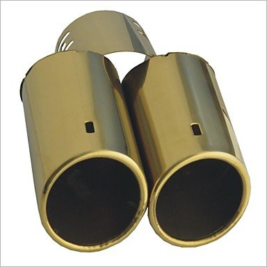 "Zcl Carking? 2.5"" Dia Inlet Automotive Replacements Gold Dual Stainless Exhaust Steel Muffler Tail Pipe"