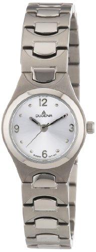 Dugena 4460441 - Reloj analógico de cuarzo para mujer con correa de titanio, color plateado