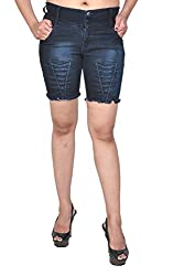 Nifty Women's Denim Shorts (1202, Blue, 28)