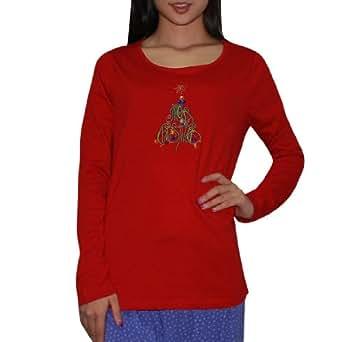 Womens Christmas Tree Long Sleeve Sleepwear / Pajama Top (Festive Winter / Christmas) - Red (Size: M)