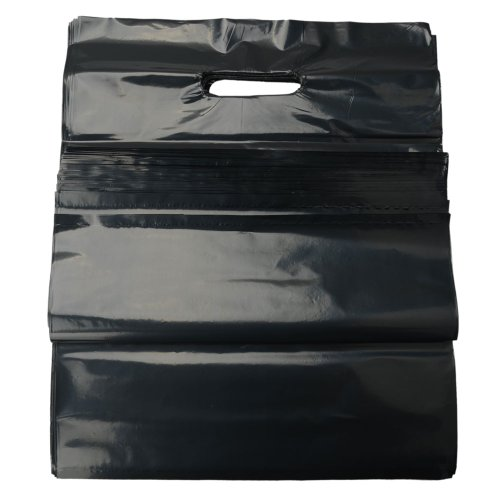 100Pcs Lightweight And Durable Superior Quality Low-Density Plastic Retail Grocery Shopping Merchandise Bags 1.5Mil (Black, 12*15)