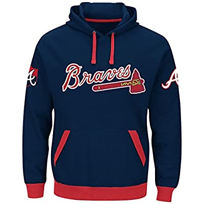 Majestic Atlanta Braves Mens Blue Third Wind Embroidered Pullover Hoodie Sweatshirt