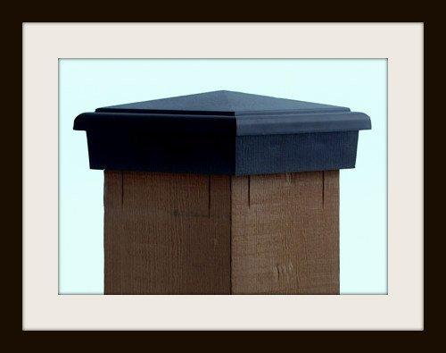 Resin Post Caps : Nominal black pyramid slim profile fence post caps