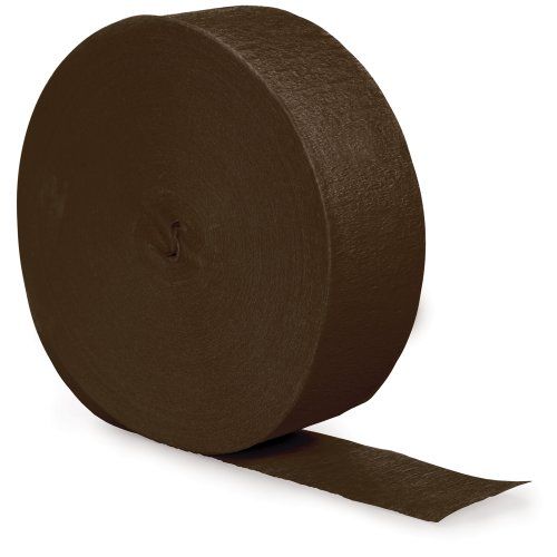 Creative Converting Touch of Color Crepe Paper Streamer Roll, 500-Feet, Chocolate Brown