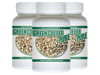 Green Coffee Pure - 180 Capsules - Pure Green Coffee Bean Extract 3 Bottles