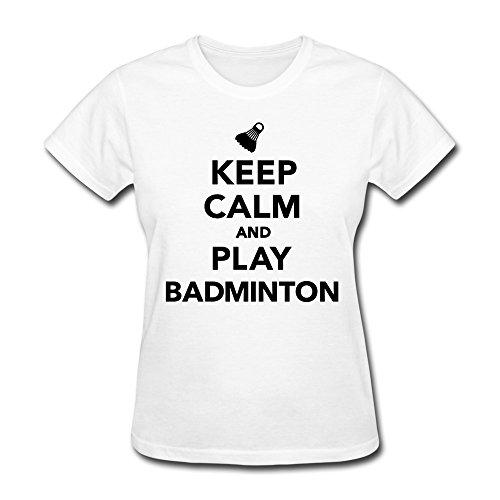 Wxmy Women'S Keep Calm Play Badminton T-Shirt - L White