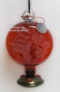 Parasol - SUN DROP HUMMINGBIRD ~ HUMMINGBIRD FEEDER - Hand Blown Recycled Glass - RED Etched Glass - SDHR
