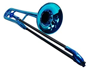 Tromba Metallic Blue Plastic Trombone with Free Stand, Bag and Maintenance Kit $102.99
