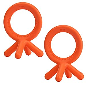 Comotomo Silicone Baby Teether, Orange 2 Pack
