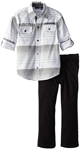 Calvin Klein Little Boys' Roll Up Sleeves Shirt With Jeans, Gray, 3T front-190182