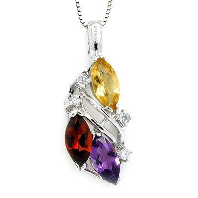 100% Luxury Genuine Amethyst Garnet Citrine 925 Silver White Gold Plating Necklace Gem Jewellery