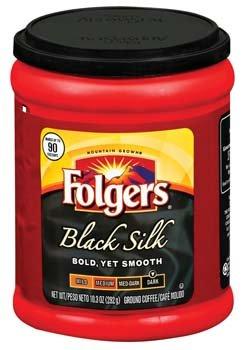 Folgers Black Silk Dark Roast Ground Coffee 10.3 oz
