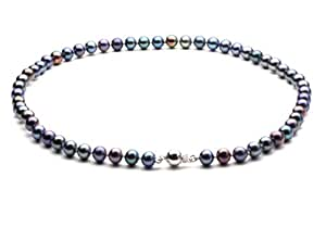 """HinsonGayle AAA Handpicked 6.5-7mm Multicolor Black Round Freshwater Cultured Pearl Necklace 16"""""""