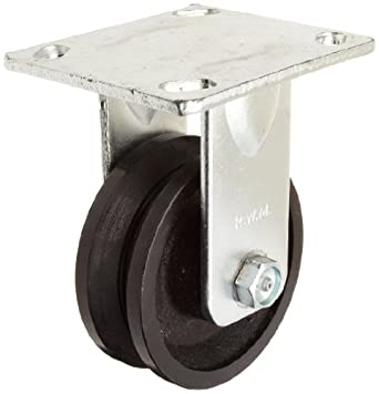 "RWM Casters 40 Series Plate Caster, Rigid, V-Groove Iron Wheel, Roller Bearing, 700 lbs Capacity, 4"" Wheel Dia, 1-1/2"" Wheel Width, 5-5/8"" Mount Height, 4-1/2"" Plate Length, 4"" Plate Width"