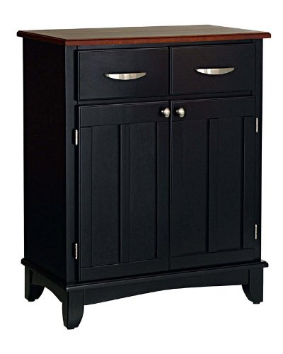 Cheap Server Sideboard with Medium Cherry Wood Top in Black Finish (VF_HY-5001-0042)