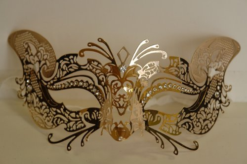 Venetian Gold Mask w/ Metal Fox Laser-cut and Crystals