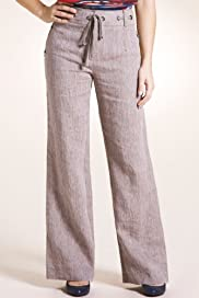 Per Una Pure Linen Roma Wide Leg Striped Trousers [T62-4428I-S]