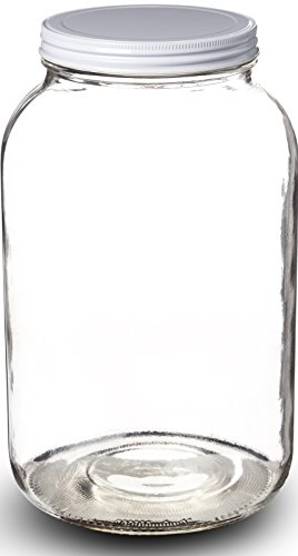 Paksh Novelty Wide Mouth 1 Gallon Clear Glass Jar + Metal Lid With Airtight Liner Seal for Fermenting Kombucha / Kefir, Storing and Canning / USDA Approved, Dishwasher Safe (Plastic Jars With Metal Lids compare prices)
