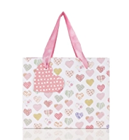 Pink Heart Print Small Bag