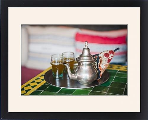 Framed Print Of Moroccan Mint Tea Pot At A Cafe In Marrakech, Morocco, North Africa, Africa