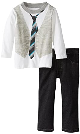 Calvin Klein Little Boys' Top with Printed Vest and Tie In Front and Pants , Assorted, 6