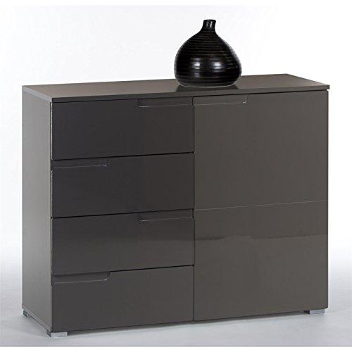 Kommode-Sideboard-MONA-100-cm-breit-in-grau-mit-Hochglanzfronten-Schubladen-und-Tr