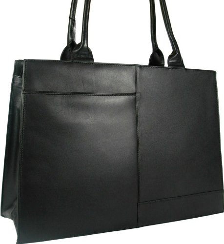 New ladies beautiful large Visconti black leather laptop briefcase work bag organiser style 19147