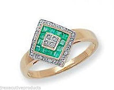 9ct Gold Real Emerald Squares & Diamond Ring (available in sizes J - T )