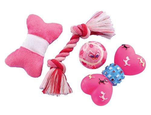 Artikelbild: Nobby 79391 Starter Set Spielzeugmix für Welpen und kleine Hunde, 4 teilig, rosa