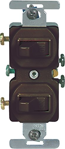 Cooper Wiring Devices 271B-BOX 15 Amp Commercial Grade Toggle Duplex Switch, Brown