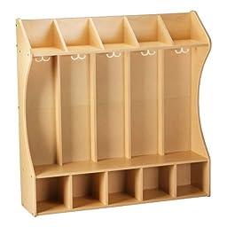 Five-Section Wooden Contour Locker Unit - Assembled