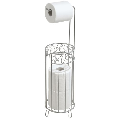 InterDesign Twigz Free Standing Toilet Paper Roll Holder for Bathroom Storage - Silver