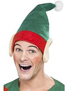 Smiffy's Little Helper Hat with Elf Ears and Pom Pom - Green