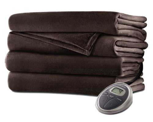 Sunbeam Premium Soft Velvet Plush Heated Blanket (King) - Walnut