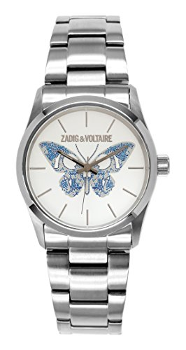 Zadig Voltaire ZV &030/BM-Rock Women's Quartz Analogue Watch with Silver Steel Strap White Dial