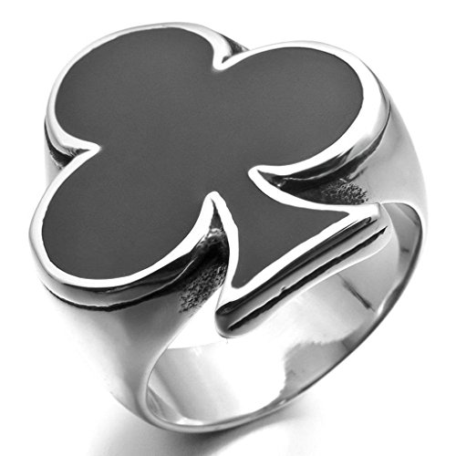 Gnzoe Jewelry, Mens Stainless Steel Enamel Rings Silver Black Ace of Clubs Playing Card Spades Card Poker Biker Polished Size 12