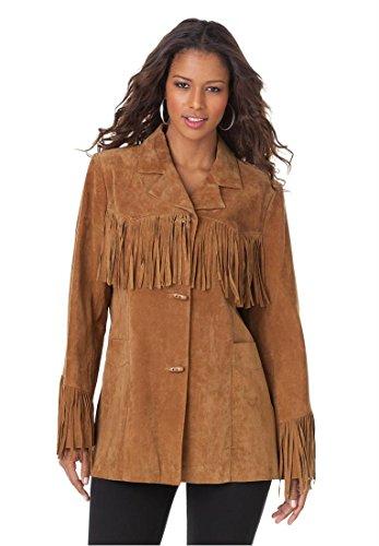 Roamans Women's Plus Size Suede Fringe Jacket
