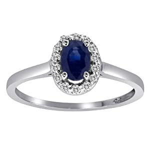 14K White Gold Round Diamond Oval Sapphire Cocktail Ring from hottest-trends.com